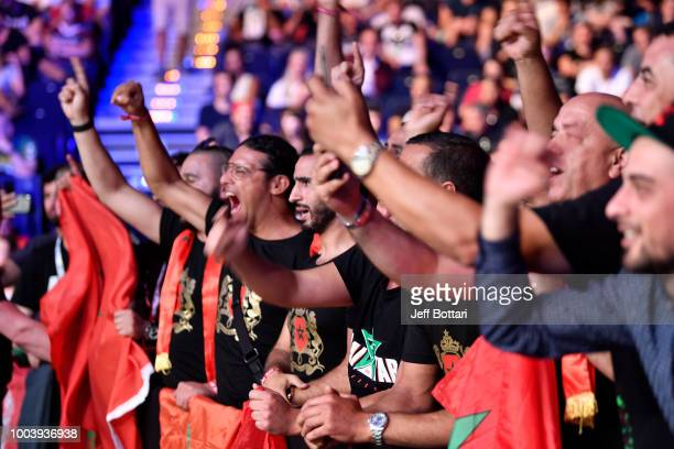 Fans cheer in support of Abu Azaitar of Germany prior to his middleweight bout against Vitor Miranda of Brazil during the UFC Fight Night at...