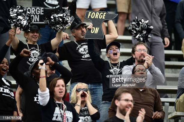 Fans cheer in the stands prior to the Alliance of American Football game between the Birmingham Iron and the Orlando Apollos at Legion Field on March...
