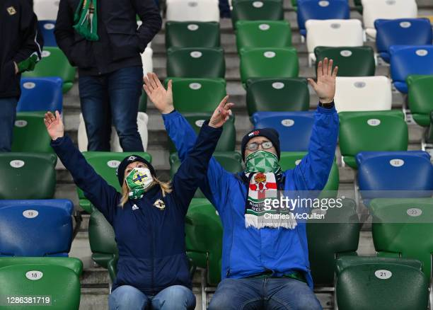 Fans cheer inside the stadium prior to the UEFA Nations League group stage match between Northern Ireland and Romania at Windsor Park on November 18,...
