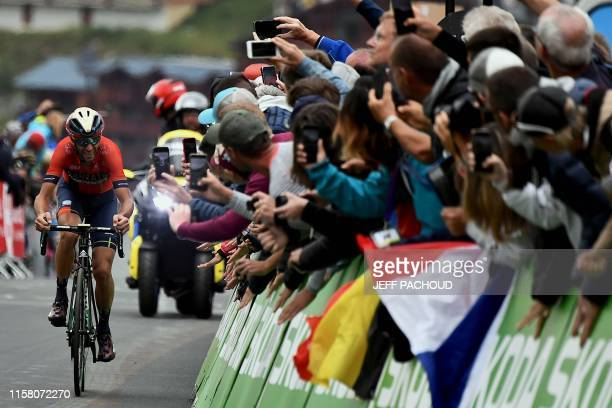 Fans cheer Italy's Vincenzo Nibali in the last kilometre before the finish line of the twentieth stage of the 106th edition of the Tour de France...