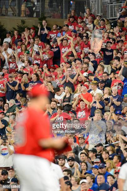 Fans cheer on Bartolo Colon of the Minnesota Twins during the game against the Toronto Blue Jays on September 15 2017 at Target Field in Minneapolis...