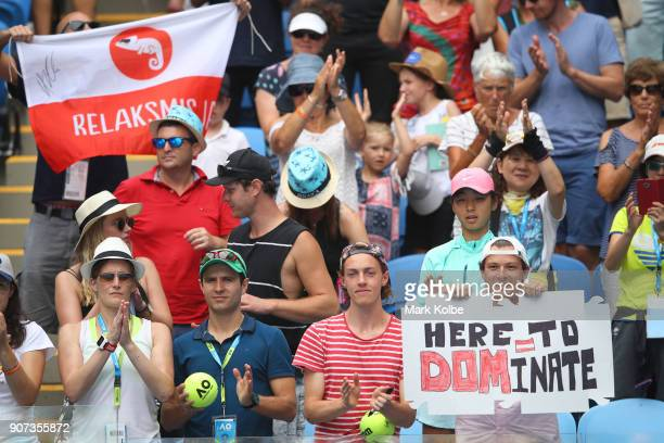 Fans cheer on Dominic Thiem of Austria in his third round match against Adrian Mannarino of France on day six of the 2018 Australian Open at...