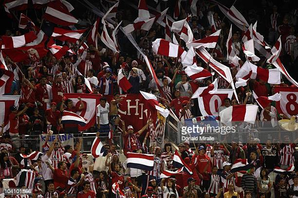 Fans cheer on during the Chivas USA vs. Chivas Guadalajara as they play in their ChivasClásico soccer match on September 14, 2010 at PETCO Park in...