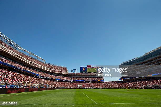 Fans cheer on Manchester United FC and FC Barcelona in the second half during the International Champions Cup on July 25, 2015 at Levi's Stadium in...