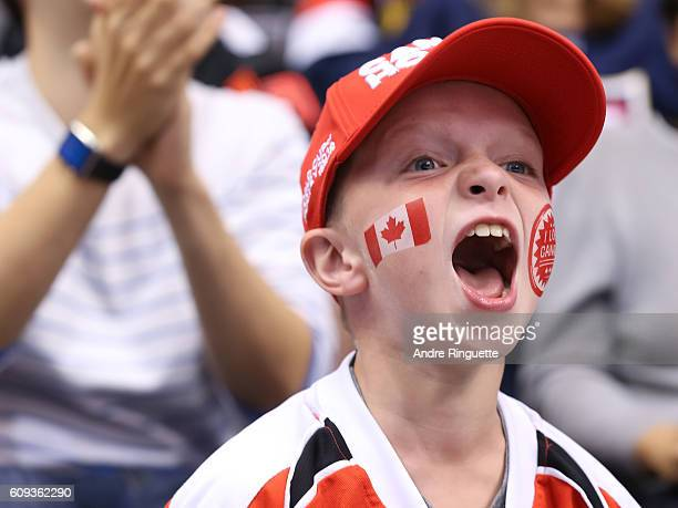 Fans cheer on Team Canada as they take on Team USA during the World Cup of Hockey 2016 at Air Canada Centre on September 20 2016 in Toronto Ontario...