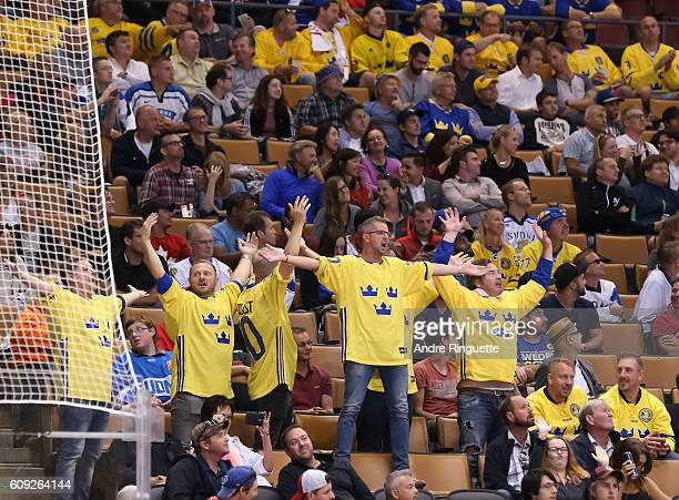 Fans cheer on Team Sweden as they take on Team Finland during the World Cup of Hockey 2016 at Air Canada Centre on September 20 2016 in Toronto...