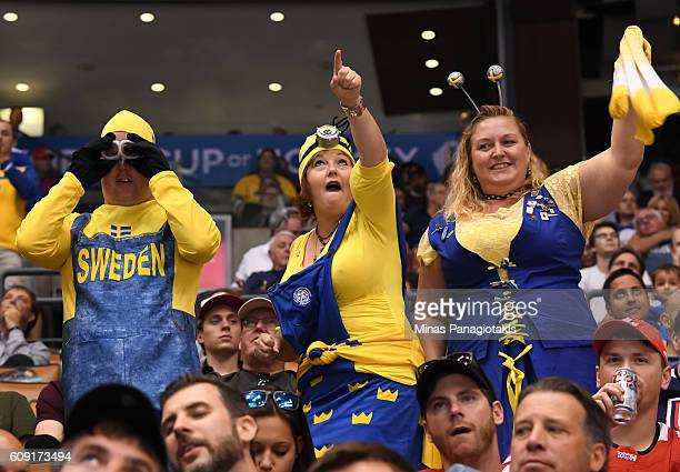 Fans cheer on Team Sweden during the World Cup of Hockey 2016 at Air Canada Centre on September 20 2016 in Toronto Ontario Canada