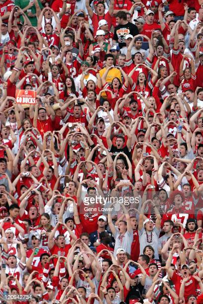 Fans cheer on the Buckeyes during the Fiesta Bowl game between Ohio State and the Notre Dame Fighting Irish at Sun Devil Stadium in Tempe, Arizona on...