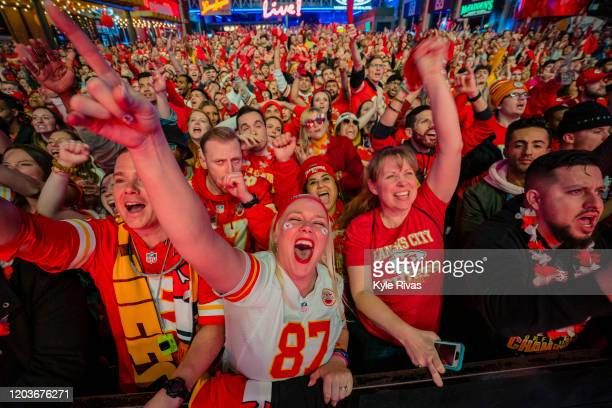 Fans cheer on the Chiefs at the Power and Light District as the Kansas City Chiefs play the San Francisco 49ers in the Super Bowl on February 2 2020...