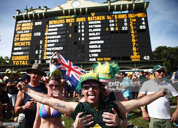 Fans cheer on the hill during day three of the Second Ashes Test match between Australia and England at Adelaide Oval on December 7 2013 in Adelaide...