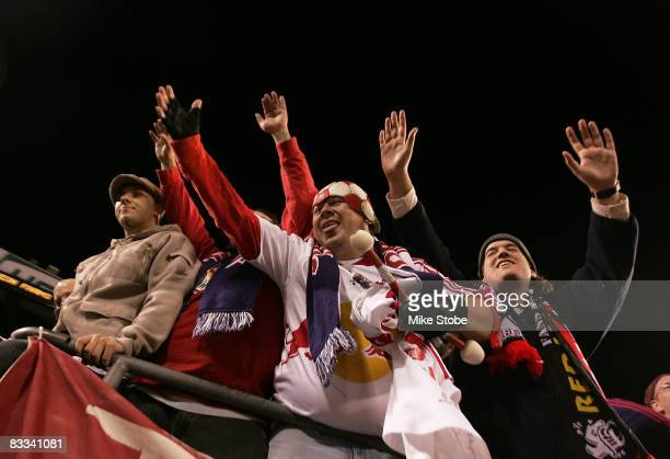 Fans cheer on the New York Red Bulls during their game against the Columbus Crew at Giants Stadium in the Meadowlands on October 18 2008 in East...