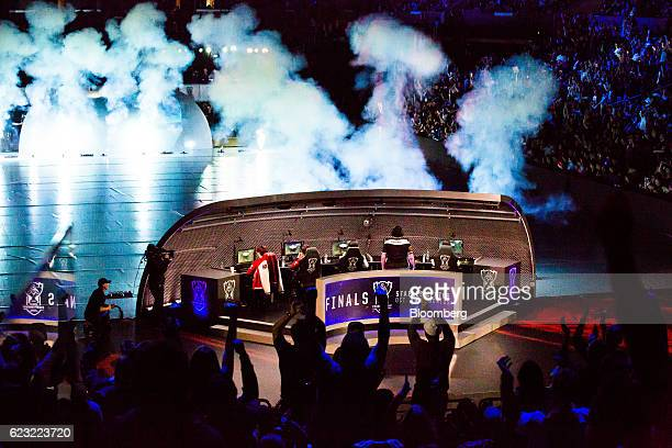 Fans cheer on the Sk Telecom team during the League of Legends World Championship at the Staples Center in Los Angeles California US on Saturday Oct...