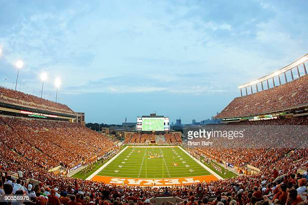 Fans cheer on the Texas Longhorns against the Louisiana Monroe Warhawks on September 5, 2009 at Darrell K Royal-Texas Memorial Stadium in Austin,...