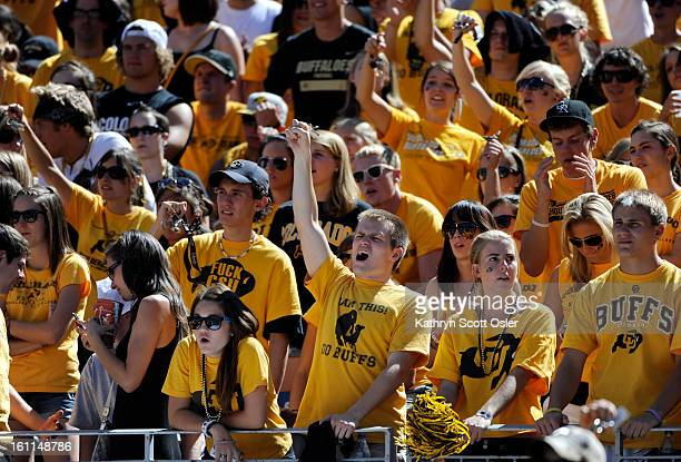 CU fans cheer on their Buffs in the fourth quarter as the University of Colorado football team takes on Colorado State in the Rocky Mountain Showdown...