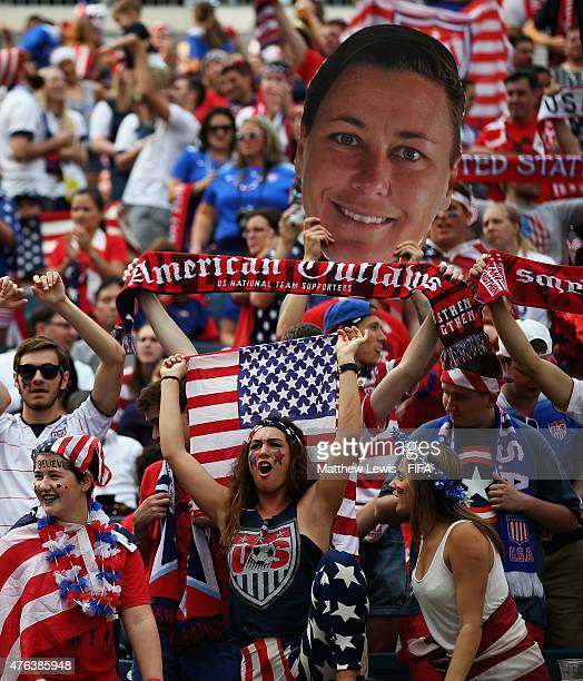 USA fans cheer on their team during the FIFA Women's World Cup 2015 Group D match between USA and Australia at Winnipeg Stadium on June 8 2015 in...