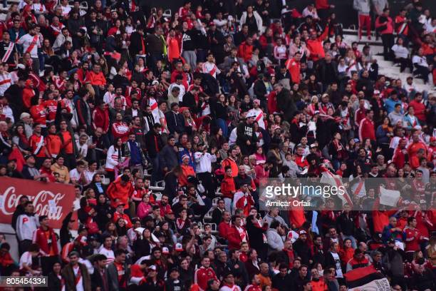 Fans cheer prior the Fernando Cavenaghi's farewell match at Monumental Stadium on July 01 2017 in Buenos Aires Argentina