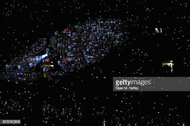 Fans cheer prior to a match between Real Madrid and Manchester City during the International Champions Cup soccer match at Los Angeles Memorial...