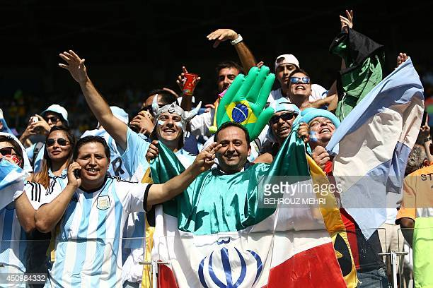 Fans cheer prior to the Group F football match between Argentina and Iran at the Mineirao Stadium in Belo Horizonte during the 2014 FIFA World Cup in...