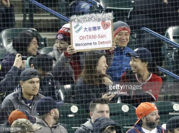 Fans cheer Shohei Ohtani of the Los Angeles Angels at Comerica Park in Detroit on May 7 as he returned from Tommy John surgery to make his season...