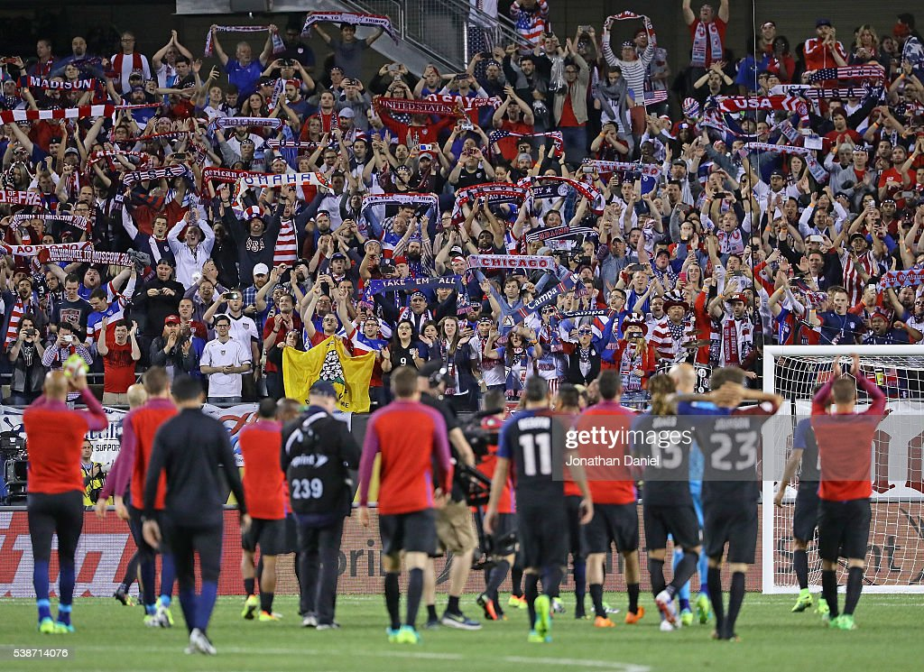 Fans cheer the United States teams after a win over Costa Rica in a match in the 2016 Copa America Centenario at Soldier Field on June 7, 2016 in Chicago, Illinois. The United States defeated Costa Rica 4-0.
