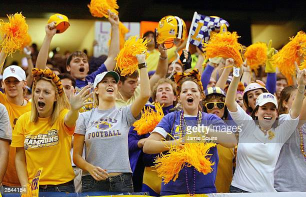 LSU fans cheer their team on against Oklahoma during the Nokia Sugar Bowl National Championship game against LSU on January 4 2004 at the Louisiana...