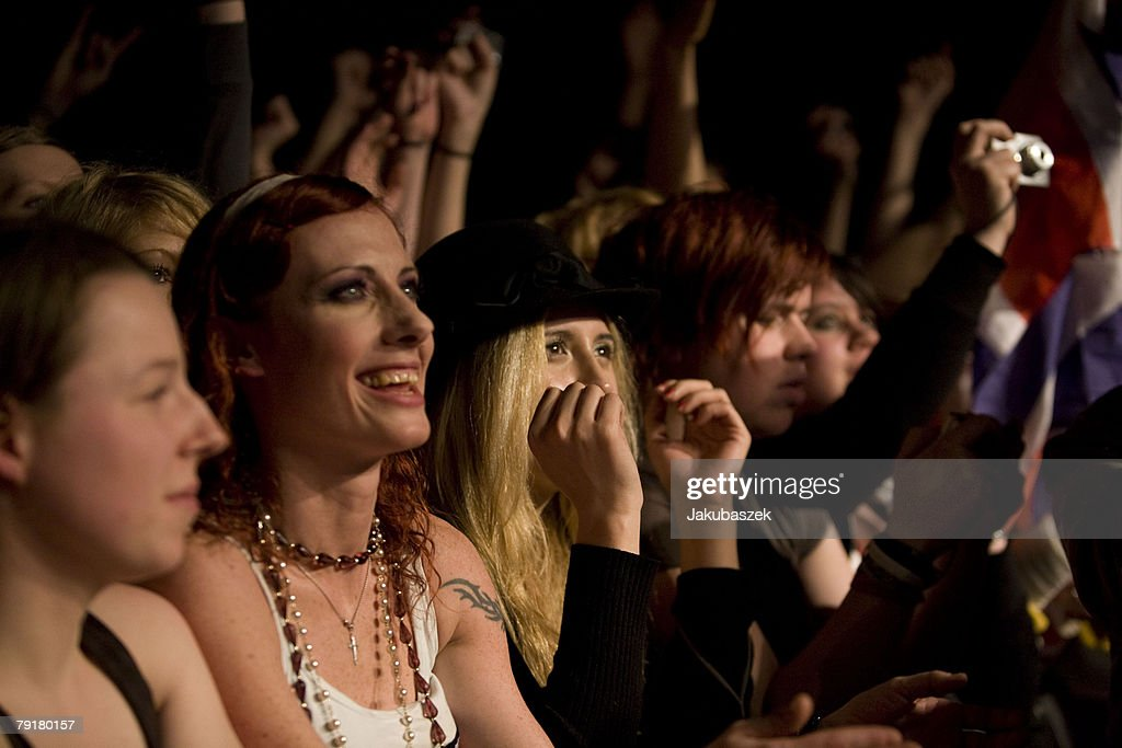 Fans cheer while the English indie band the Babyshambles performs live during a concert at the Columbiahalle on January 23, 2008 in Berlin, Germany. The concert is part of the 'Shotter's Nation Tour 2008'.