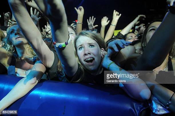 Fans cheer while Tokio Hotel performs at House of Blues on October 24 2008 in Orlando Florida