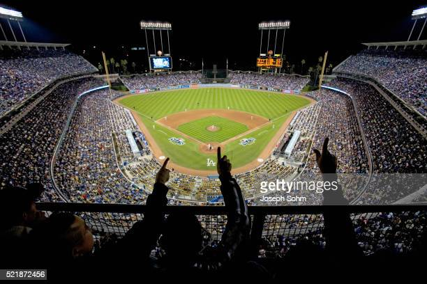 Fans cheering during championship game at Dodger Stadium