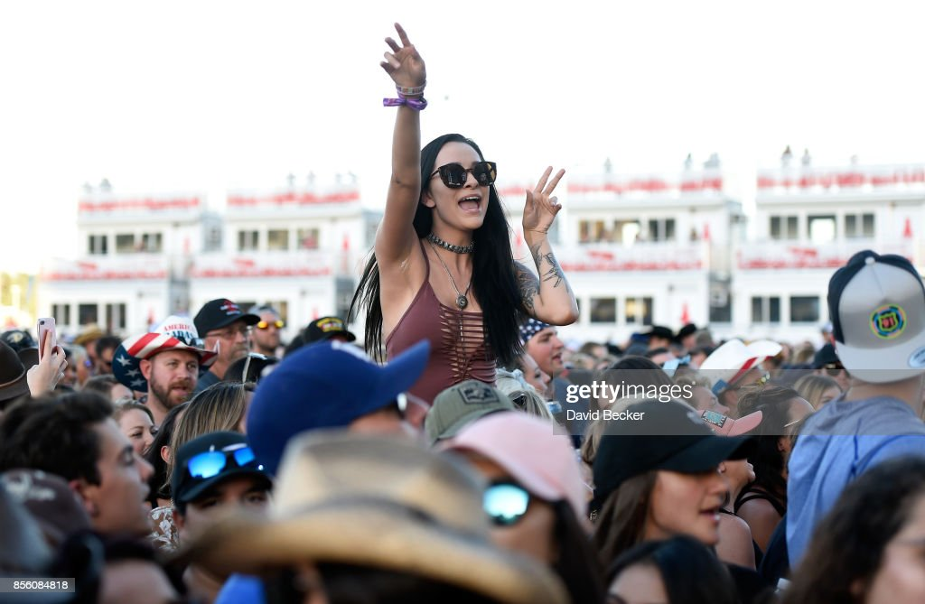 Fans cheers during the Route 91 Harvest country music festival at
