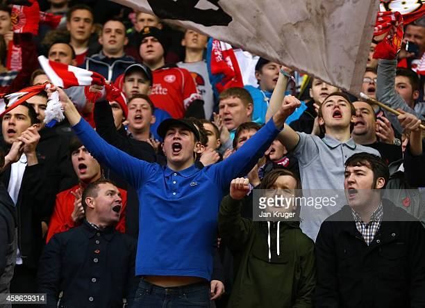 Fans cheers during the Sky Bet Championship match between Middlesbrough and Bournemouth at Riverside Stadium on November 8, 2014 in Middlesbrough,...