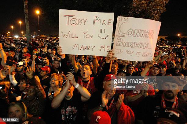 Fans cheers outside before the Virginia Tech Hokies take on the Cincinnati Bearcats in the FedEx Orange Bowl at Dolphin Stadium on January 1, 2009 in...