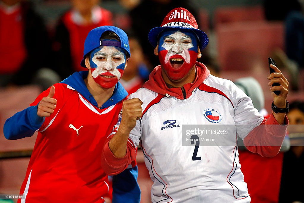 Fans Chile cheer for their team during a match between Chile and Brasil as part of FIFA 2018 World Cup Qualifier at Nacional Julio Martinez Pradanos Stadium on October 08, 2015 in Santiago, Chile.