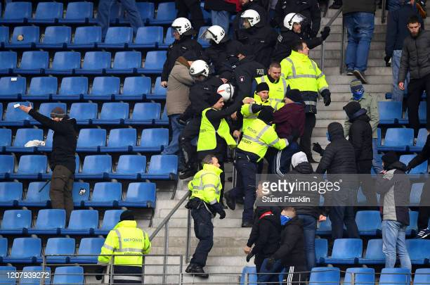 Fans clash during the Second Bundesliga match between Hamburger SV and FC St. Pauli at Volksparkstadion on February 22, 2020 in Hamburg, Germany.