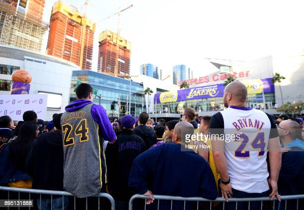 Fans come out to Kobeland before a jersey retirement ceremony for Kobe Bryant's and of the Los Angeles Lakers at Staples Center on December 18 2017...