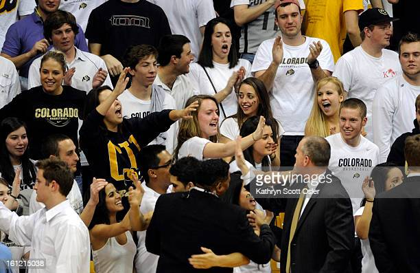CU fans congratulate head coach Tad Boyle and the players on their win The University of Colorado Buffaloes men's basketball takes on the University...