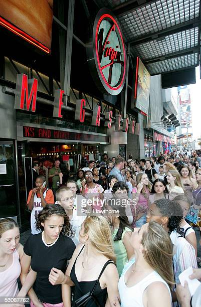 Fans converge on Times Square to get in line to see the Backstreet Boys at Virgin Megastore Times Square June 14 2005 in New York City