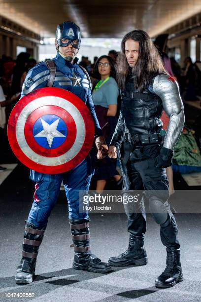 Fans cosplay as Bucky Barnes and Captain America from the Marvel Universe during the 2018 New York ComicCon at Javits Center on October 7 2018 in New...
