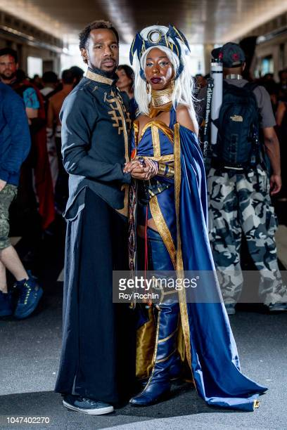 A fans cosplay as T'challa and Ramonda from Black Panther and the Marvel Universe during the 2018 New York ComicCon at Javits Center on October 7...