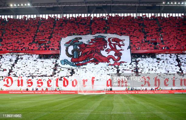 Fans create a display prior to the Bundesliga match between Fortuna Duesseldorf and Borussia Moenchengladbach at Esprit-Arena on March 30, 2019 in...
