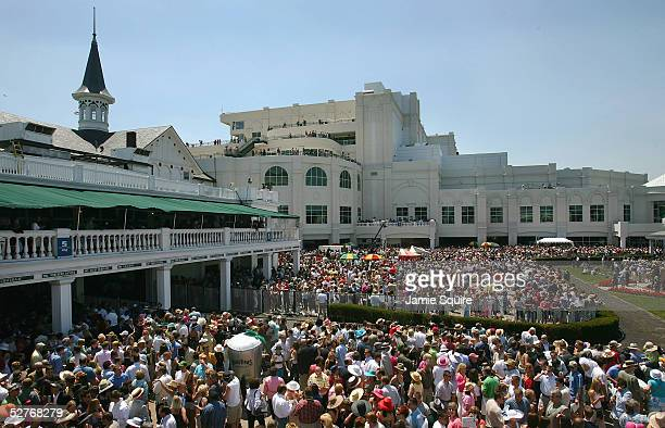 Fans crowd the concourse during the Oaks preliminaries in preparation for the 131st Kentucky Derby May 6, 2005 at Churchill Downs in Louisville,...