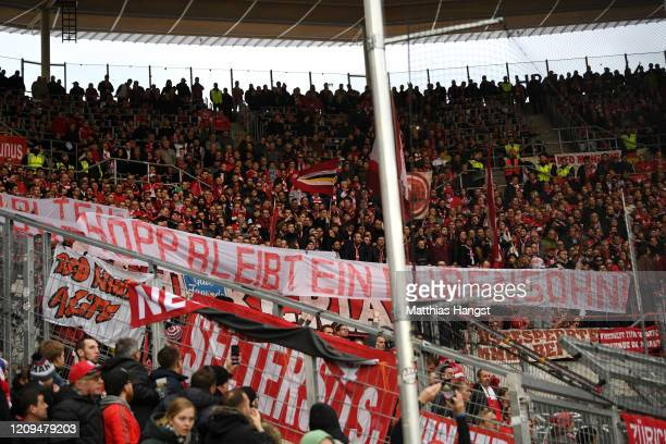 Fans demonstrate during the Bundesliga match between TSG 1899 Hoffenheim and FC Bayern Muenchen at PreZero-Arena on February 29, 2020 in Sinsheim,...