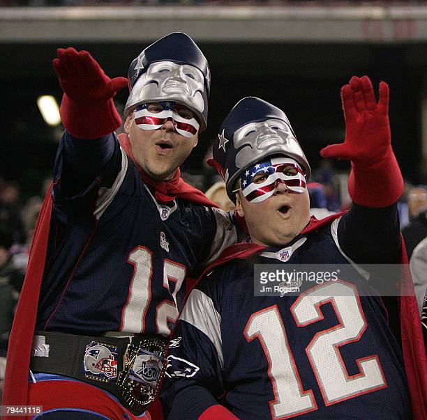 Fans demonstrates support for the 2005 AFC East Champion New England Patriots during a game with the Jacksonville Jaguars in the firstround playoff...