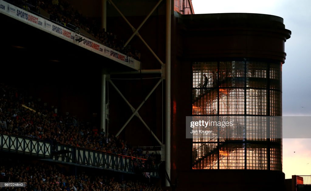 Fans depart the stadium down a flight of stairs during the UEFA Europa League Qualifying Round match between Rangers and Shkupi at Ibrox Stadium on July 12, 2018 in Glasgow, Scotland.