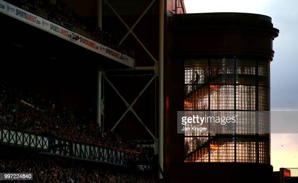 Fans depart the stadium down a flight of stairs during the UEFA Europa League Qualifying Round match between Rangers and Shkupi at Ibrox Stadium on...