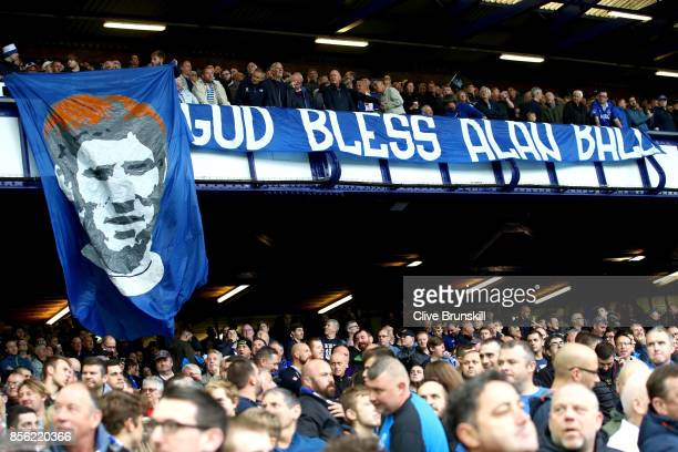 Fans display a banner on Alan Ball tribute day prior to the Premier League match between Everton and Burnley at Goodison Park on October 1 2017 in...