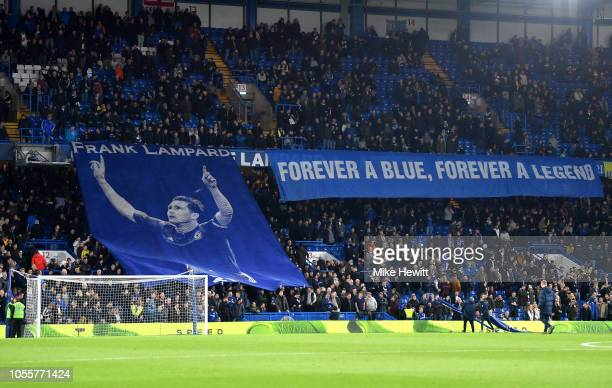 Fans display a Frank Lampard flag prior to the Carabao Cup Fourth Round match between Chelsea and Derby County at Stamford Bridge on October 31 2018...