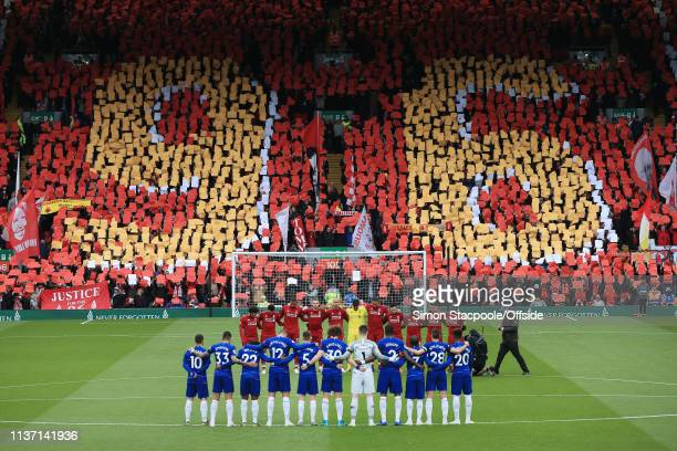 Fans display a mural to remember the 96 victims of the Hillsborough Disaster on the 30th anniversary of the tragedy before the Premier League match...
