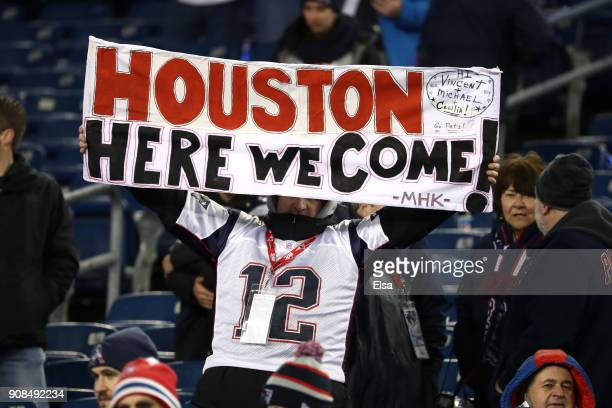 Fans display a sign during the AFC Championship Game between the New England Patriots and the Jacksonville Jaguars at Gillette Stadium on January 21...