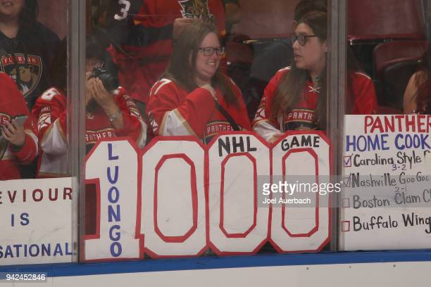 Fans display a sign for goaltender Roberto Luongo of the Florida Panthers prior to the game against the Boston Bruins at the BBT Center on April 5...