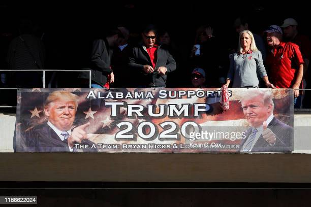 Fans display a Trump 2020 banner during the game between the LSU Tigers and the Alabama Crimson Tide at BryantDenny Stadium on November 09 2019 in...
